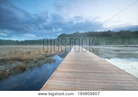 wooden road over lake in morning, Drenthe