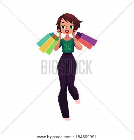 Happy girl, woman in casual clothing with shopping bags, holiday sale concept, cartoon vector illustration isolated on white background. Girl, woman with many shopping bags, happy shopping concept