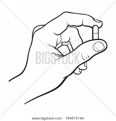Hand holding two piece gelatin capsule by two fingers, side view black and white sketch style vector illustration on white background. Drawing of hand holding pill, capsule, medicine by two fingers