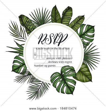 Hand Drawn Vector Illustration - Wedding Invitation Rsvp With Palm Leaves. Tropical Label. Perfect F