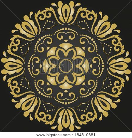 Oriental vector golden round pattern with arabesques and floral elements. Traditional classic ornament. Vintage pattern with arabesques