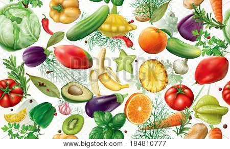 various vegetables fruits and spices on a white semi transparent background. Vector illustration