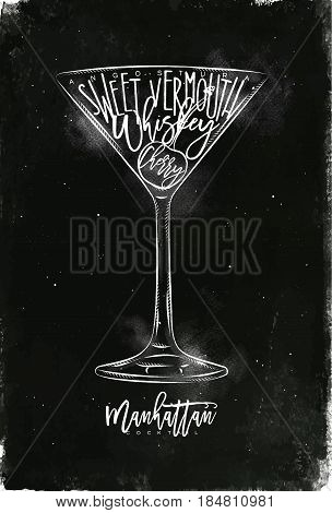 Manhattan cocktail lettering angostura sweet vermouth whiskey cherry in vintage graphic style drawing with chalk on chalkboard background