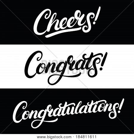Set of Cheers, Congrats, Congratulations hand written lettering. Greeting calligraphy quotes. Vector illustration.