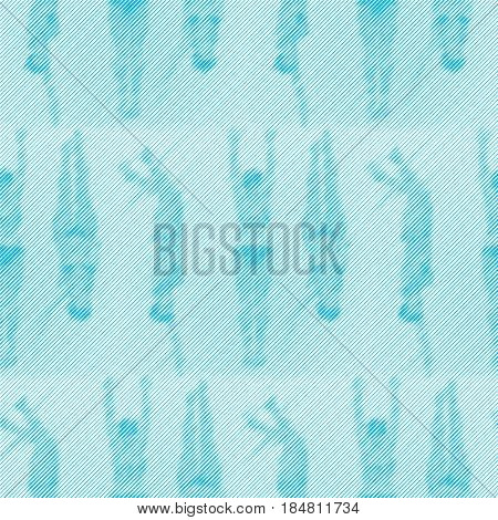 Abstract vector seamless op art pattern with women silhouettes. Monochrome  graphic blue and white ornament. Striped repeating texture.