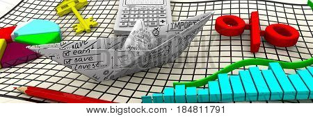 Finance. Business still life. Paper boat from a sheet with business sketches charts electronic calculator a red pencil red symbol of percent round diagram and gold key from house on the sheet. 3D Illustration