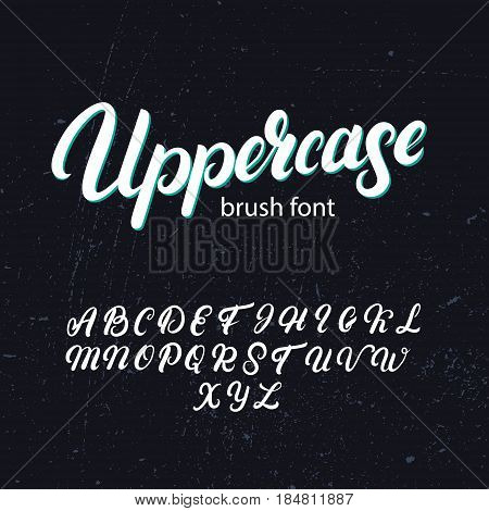 Uppercase brush alphabet. Hand written uppercase font. Modern brush calligraphy. On background. Typography alphabet for your design.