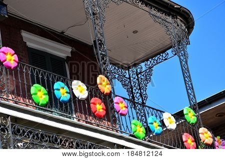 Decorative balcony in the French Quarter district of New Orleans, Louisiana