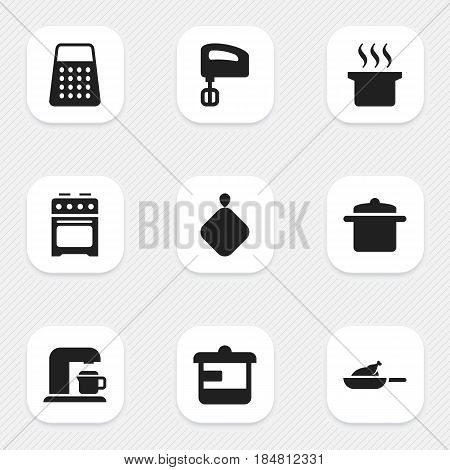 Set Of 9 Editable Cooking Icons. Includes Symbols Such As Cookware, Shredder, Utensil And More. Can Be Used For Web, Mobile, UI And Infographic Design.