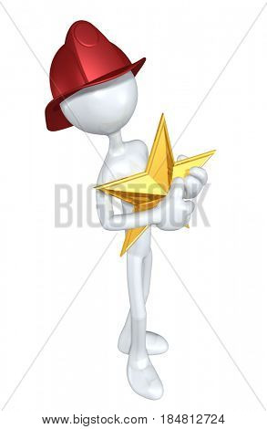 Fireman With A Star 3D Illustration