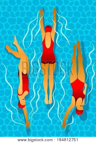 Swimmers women in the pool. Effect of caustic water. Illustration in art deco style