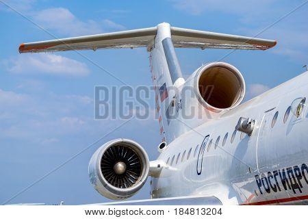 Engine On Fuselage Of Passenger Plane