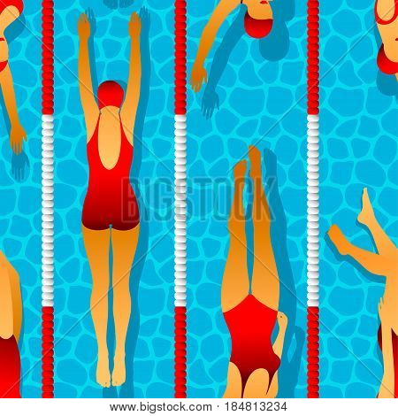 Seamless pattern of swimmers women in the pool. Effect of caustic water. Illustration in art deco style
