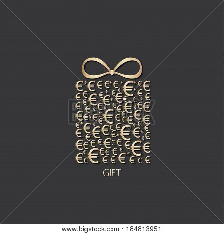 Gift box icon with euro money sign on dark background. Vector illustration.