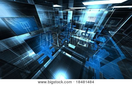 3d Technology office illustration