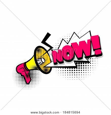Lettering mouthpiece, now, boom explosion. Comics book balloon. Bubble icon speech phrase. Cartoon font label tag expression. Comic text sound effects. Sounds vector illustration.