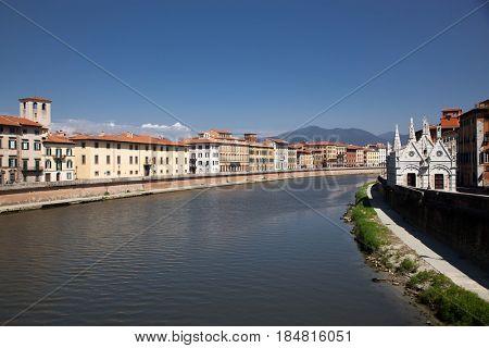 travel amazing Italy series - Arno River and Santa Maria della Spina Church, Pisa, Tuscany,