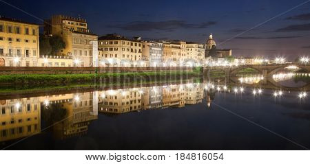 travel amazing Italy series - River Arno at Night, Florence, Tuscany