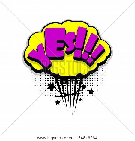 Lettering yes, yeah. Comics book balloon. Bubble icon speech phrase. Cartoon font label tag expression. Comic text sound effects. Sounds vector illustration.
