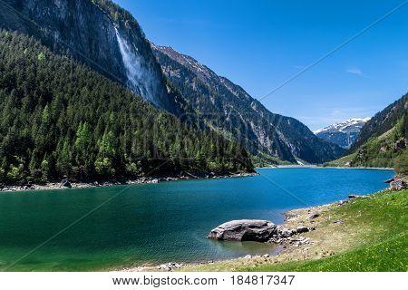 Mountain lake. Summer idyllic mountain landscape Stillup lake Austria Tirol