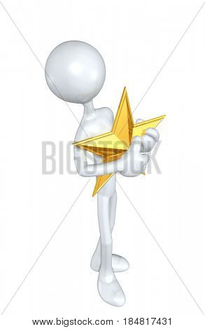 The Original 3D Character Illustration With A Star