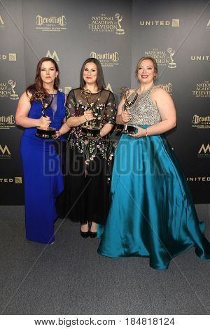 PASADENA - APR 28: Jenna Servatius, Christine Toye, Liz Roelands at the 44th Daytime Creative Arts Emmy Awards Gala at the Pasadena Civic Center on April 28, 2017 in Pasadena, CA