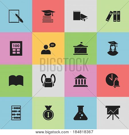 Set Of 16 Editable Graduation Icons. Includes Symbols Such As Arithmetic, Calculator, Univercity And More. Can Be Used For Web, Mobile, UI And Infographic Design.