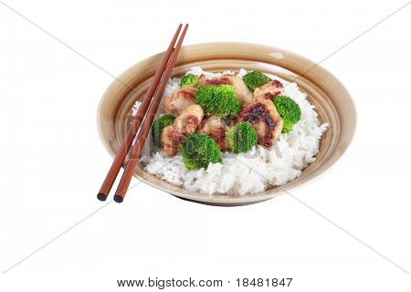 Chicken Stir fry with chopsticks and veggies Isolated