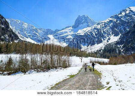 Idyllic scenic mountain landscape in the early springtime with hiking path. Austria Tyrol Karwendel Alpine Park near Gramai