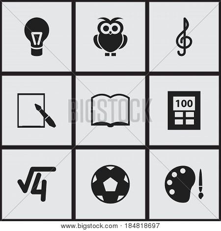Set Of 9 Editable Science Icons. Includes Symbols Such As Math Root, Propeller, Notepaper And More. Can Be Used For Web, Mobile, UI And Infographic Design.