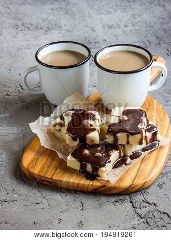 White Chocolate Fudge And Coffee With Milk