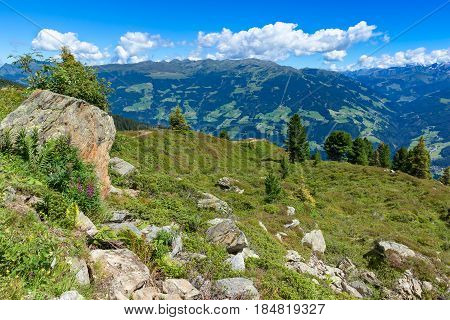 Summer mountain view with green meadow and stones in the foreground. Austria Tirol Zillertal Zillertal High Alpine Road