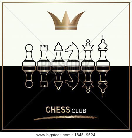 Chess pieces including king, queen, rook, pawn, knight, and bishop (chess icons,  chess figures) Chess club sport emblems or symbols. Chess club logo. Retro style