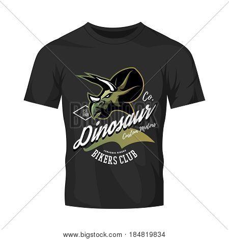 Vintage American furious dinosaur bikers club tee print vector design isolated on black t-shirt mockup. Savage monster street wear t-shirt emblem. Premium quality wild reptile superior mascot logo concept illustration.