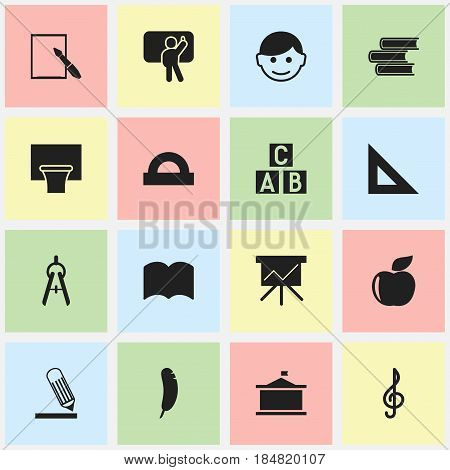 Set Of 16 Editable University Icons. Includes Symbols Such As Basketball, Fresh Fruit, Math Tool And More. Can Be Used For Web, Mobile, UI And Infographic Design.