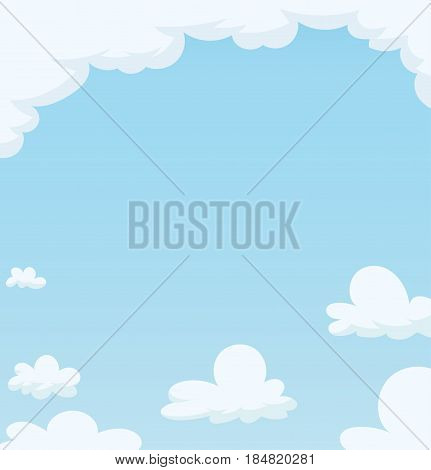 Blue Sky with cloud. Cartoon background. Vector illustration.