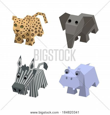 Set of african isometric animals. Different cartoon isometric animals isolated: elephant, leopard, zebra, hippo, hippopotamus. Elements for 3d game. Icon collection of african animals.