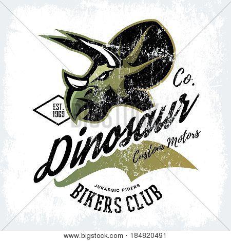 Vintage American furious dinosaur bikers club tee print vector design. Savage monster street wear t-shirt emblem.  Premium quality wild reptile superior mascot logo concept illustration.