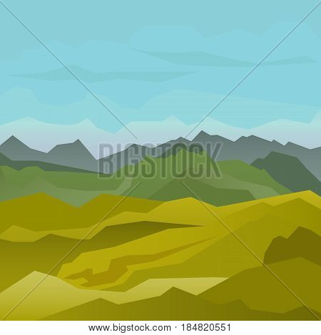 High green mountains landscape with blue sky. Spectacular view for poster or web banner. Modern flat realistic design. Vector illustration art.