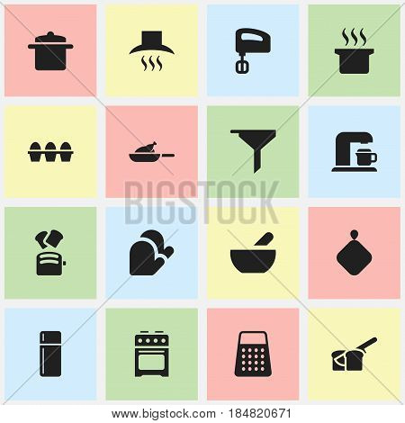 Set Of 16 Editable Meal Icons. Includes Symbols Such As Shredder, Pot-Holder, Slice Bread And More. Can Be Used For Web, Mobile, UI And Infographic Design.