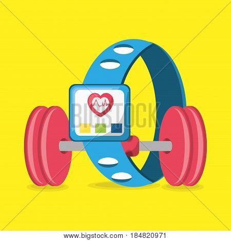 weight and smartwatch to meter rhythm cardiac, vector illustration