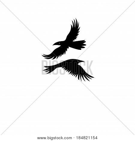 Vector icons of black silhouettes of a crow on a white background