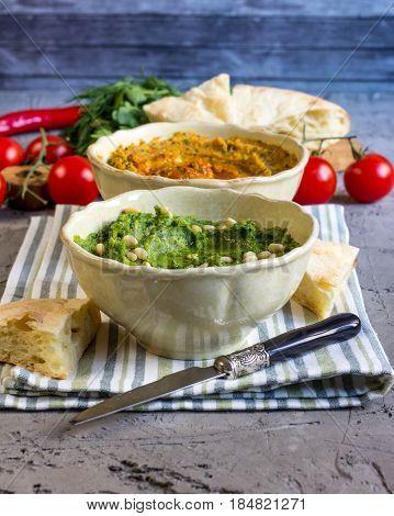 Colorful Hummus Bowls.
