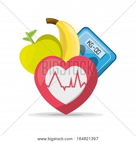 fruits, heartbeat and weighing mashine, vector illustration design