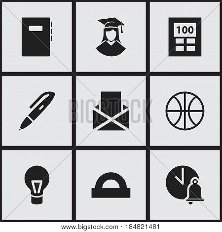 Set Of 9 Editable Education Icons. Includes Symbols Such As Workbook, School Bell, Calculator And More. Can Be Used For Web, Mobile, UI And Infographic Design.