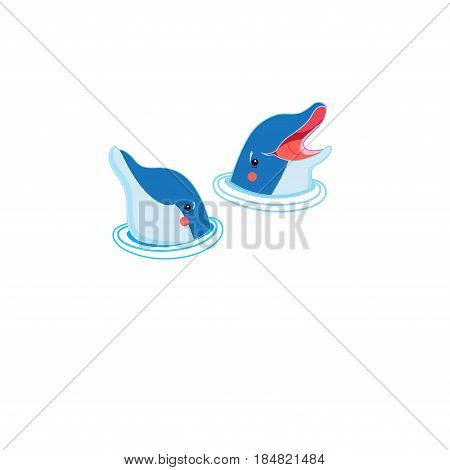 Icons of happy dolphin portraits isolated on white background