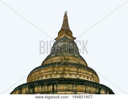 AMPHOE MUEANG CHIANG MAI / THAILAND - FEBRUARY 3 2017 : The Lanna style chedi circular bell shaped chedi is on the top of tunnel at Wat Umong Suan Puthatham
