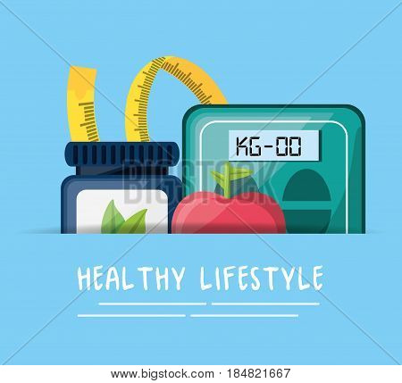 natural pills, apple, measuring and weighing mashine, vector illustration