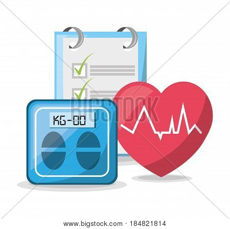 weighing mashine with heartbeat and tips list, vector illustration