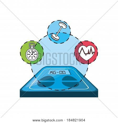 weighing mashine with healthy lifestyle icons around, vector illustration deign